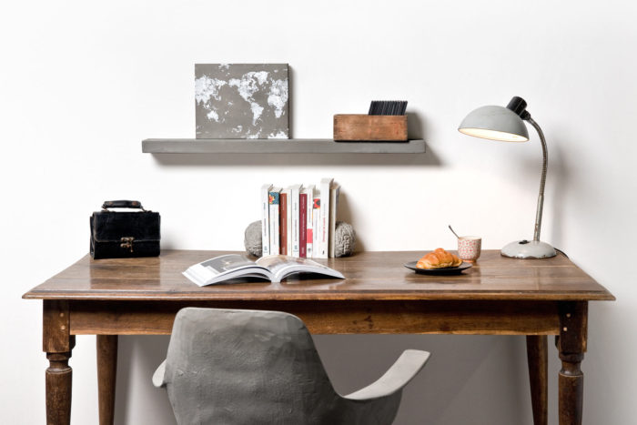 Optimize your home desk by using our concrete shelf. It's really looking good with a wooden desk